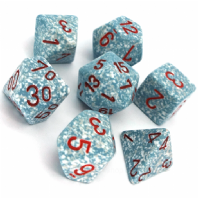 Blue & White 'Air' Speckled Polyhedral 7 Dice Set